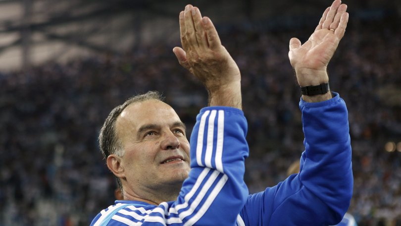 Olympique Marseille's coach Marcelo Bielsa gestures at the end of match against Bastia during their French Ligue 1 soccer match at the Velodrome Stadium in Marseille, France, May 23, 2015. REUTERS/Philippe Laurenson  Picture Supplied by Action Images